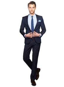 2410074 Check Navy Slim Fit Suit
