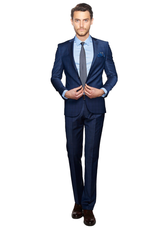 2410087 Check Blue Slim Fit Suit
