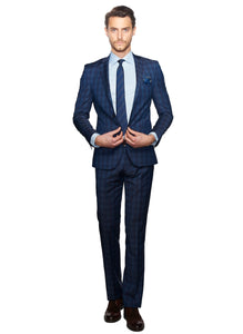 2410063 Check Blue Slim Fit Suit