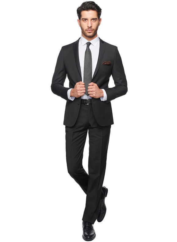 2410172 Plain Black Slim Fit Suit