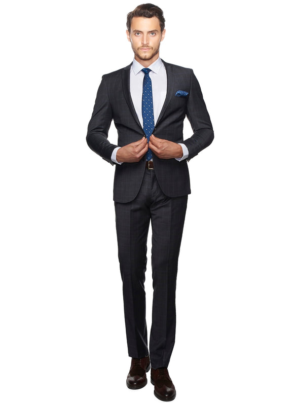 2410111 Check Anthracite Slim Fit Suit