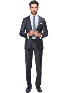 2410141 Patterned Grey Slim Fit Suit