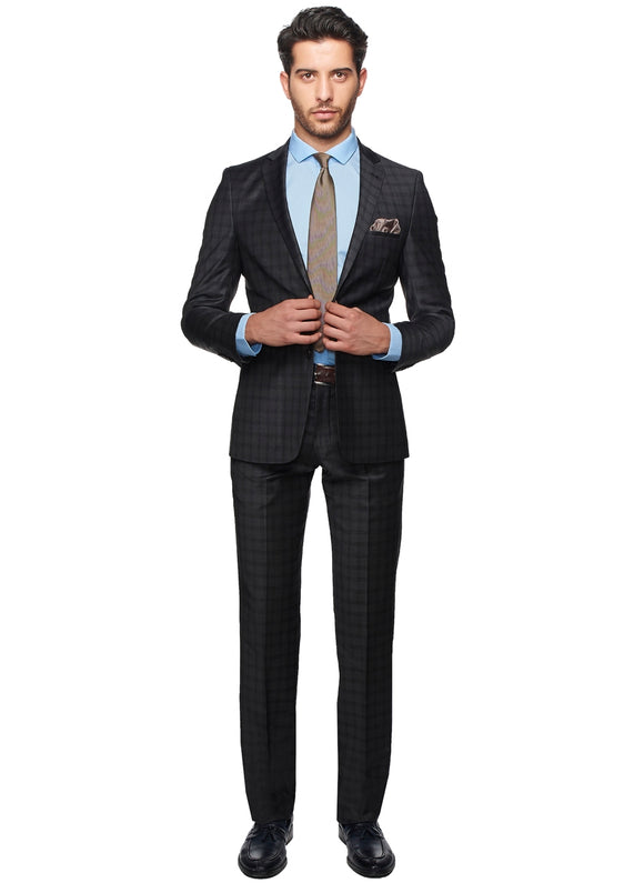 2410090 Check Grey Slim Fit Suit