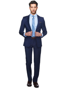 2410078 Check Navy Slim Fit Suit