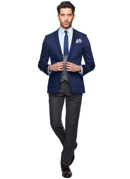 2410166 Plain Grey-Navy Combo Suit