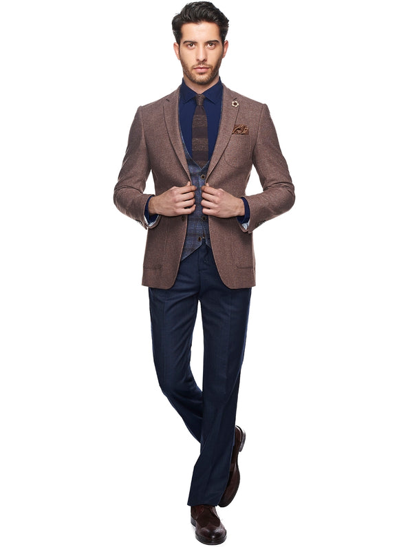 2410153 Plain Navy-Camel Combo Suit