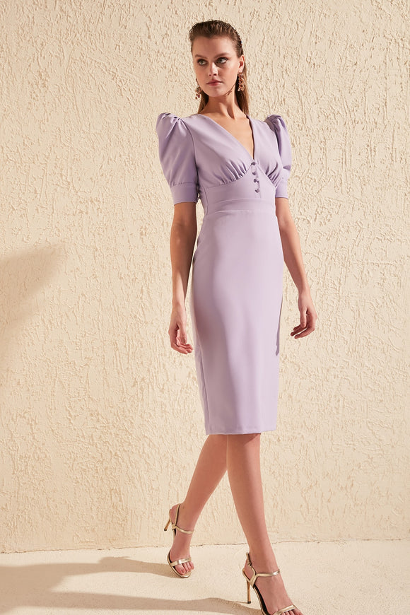 16486 lilac wing sleeve dress