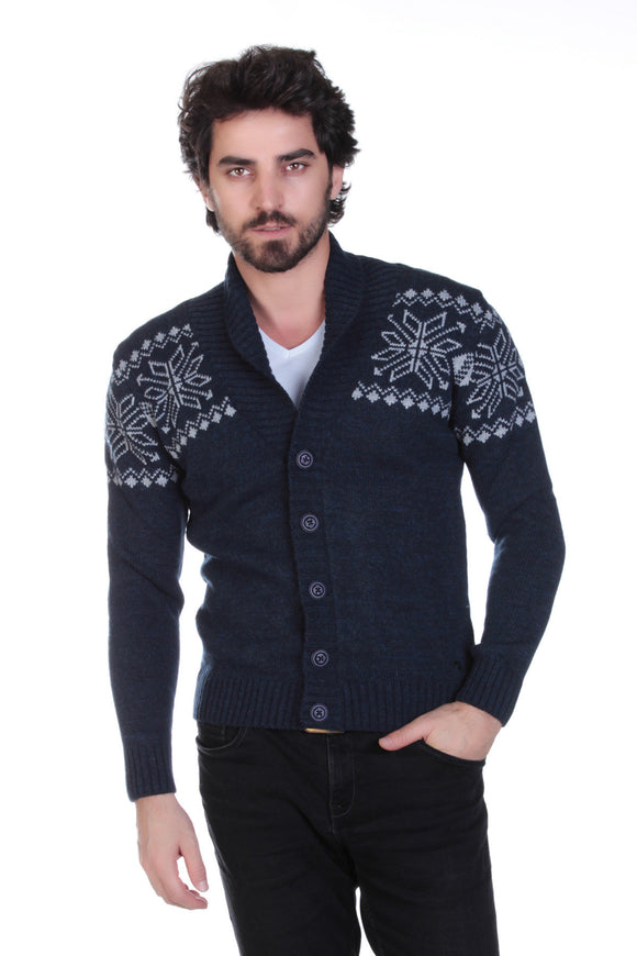 5112018 Navy Blue Collar Cardigan