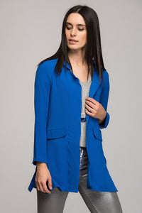 3510054 Blue Pocket Detail Long Jacket
