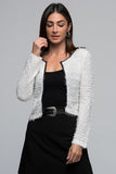 3510065 White Leather Binding Short Jacket