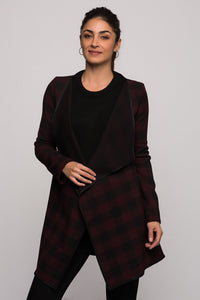 3510070 Bordeaux Check Shawl Jacket
