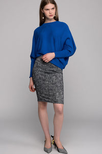 2910015 Grey Patterned Stretch Pencil Skirt