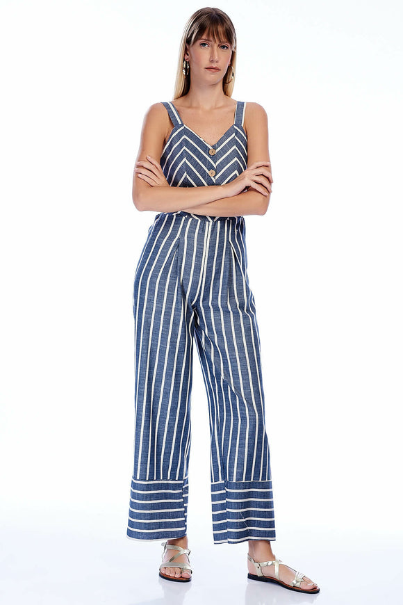 2582 Blue Striped Strap Jumpsuit