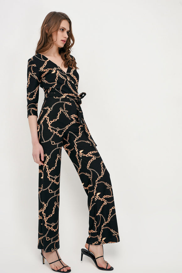 2584 Black Tie Waist Patterned Jumpsuit