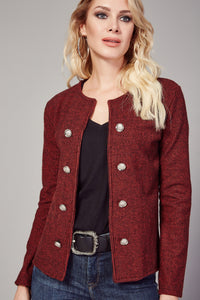 3510073 Red Double Button Unlined Jacket