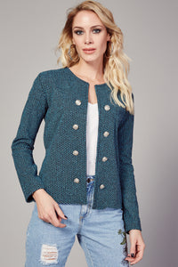 3510076 Blue Patterned Double Button Jacket