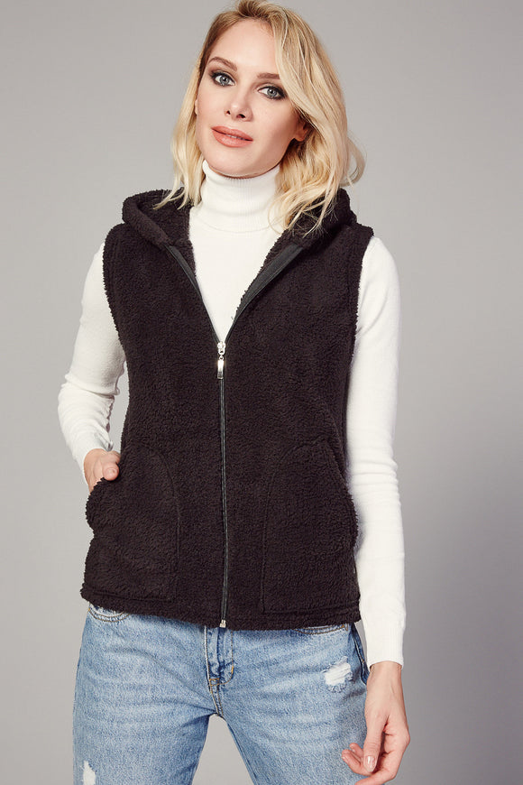 3510077 Black Hooded Plush Vest