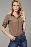 3010007 Brown Short Sleeve Cotton Shirt