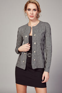 3510080 Grey Check Double Button Jacket