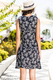 1210554 Black Patterned V-Neck Dress