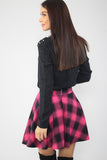 2910073 Fuschia Plaid Mini Skirt