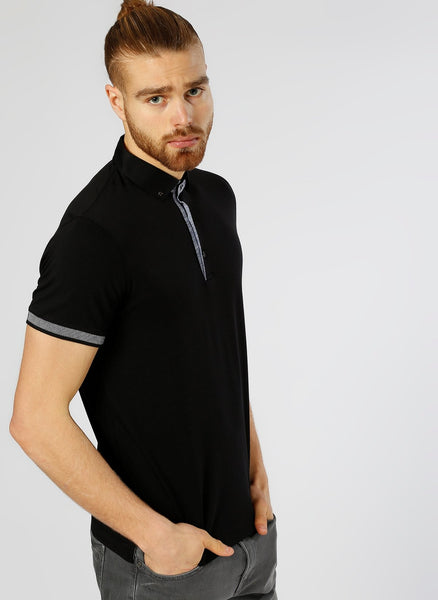2630023 Black Polo Neck T-Shirt For Men