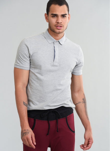 2630022 Grey Polo Collar Tshirt For Men