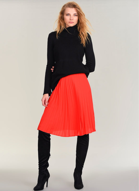1029 Red Pleated Skirt