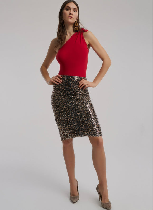 1052 Black-Brown Printed Sequin Skirt