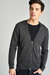 5112163 Anthracite Zip & Button Cardigan