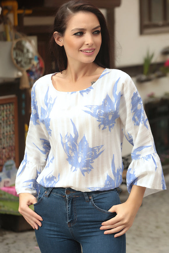3020005 Blue-White Wide Sleeve Blouse