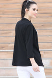 3510178 Black Folded Sleeve Jacket