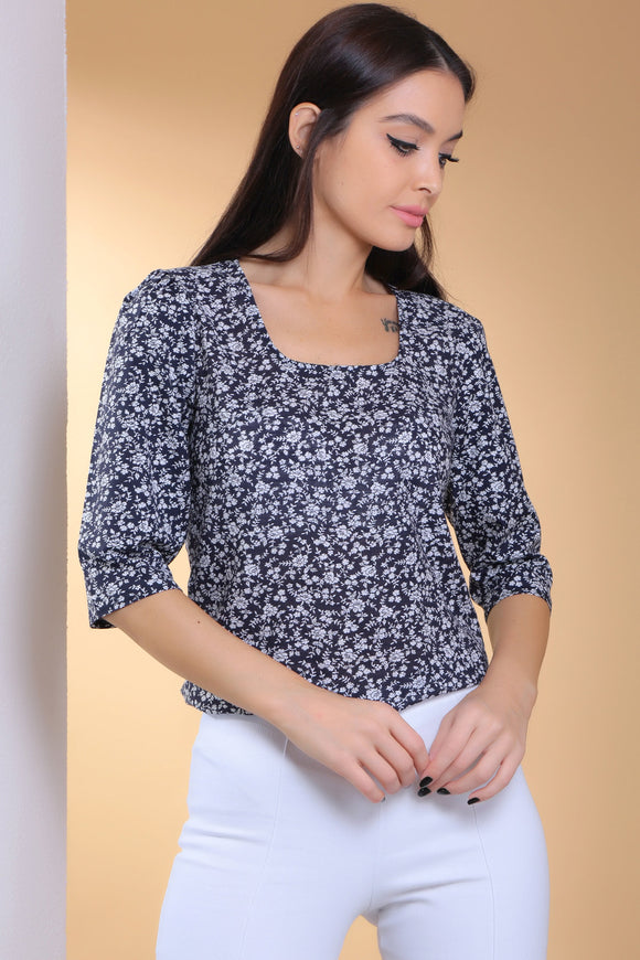 3020010 Navy Blue-White Floral Blouse