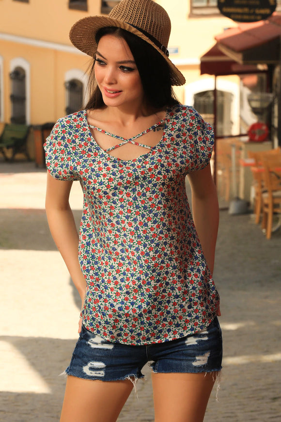 3020011 Red-Blue Floral Blouse