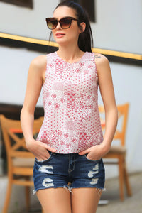 3020013 Red Floral Sleeveless Blouse