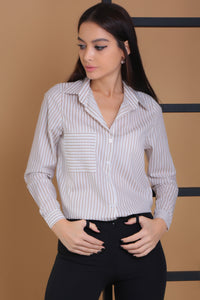 3010020 Beige Stripe Long Sleeve Shirt