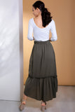 2910022 Khaki Frilly Maxi Skirt
