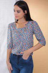 3020019 Red-Blue Floral Blouse