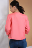 3510184 Coral Quarter Sleeve Crop Jacket