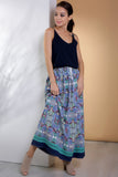 2910061 Blue Printed Maxi Skirt