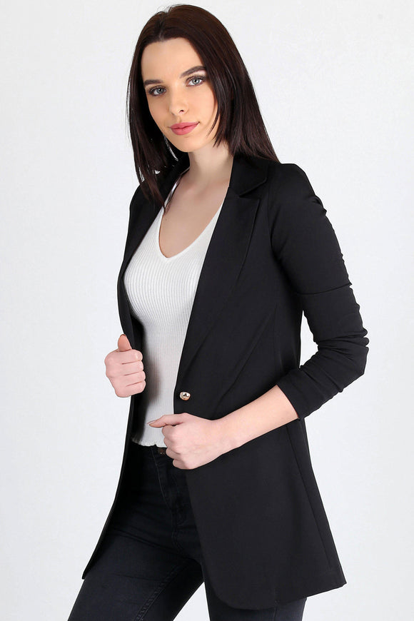 3510191 Black One-Button Long Jacket