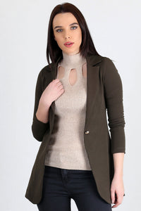 3510192 Khaki One-Button Long Jacket