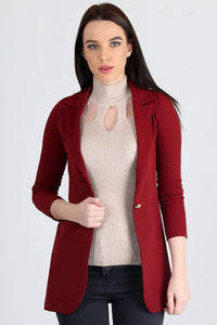 3510193 Bordeaux One-Button Long Jacket