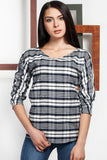3020040 White Check Blouse