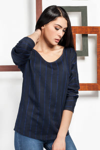 3020045 Blue Stripe Blouse
