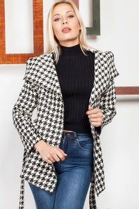 3510101 Black-White Shawl Collar Jacket