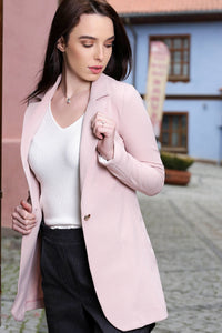 3510171 Powder One-Button Long Jacket