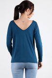 3020048 Oil Blue V-Neck Blouse