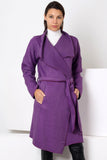 3510110 Purple Jacquard Jacquard Shawl Collar Long Jacket