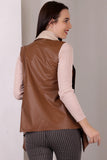 3510112 Tawny Faux Leather Vest